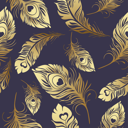 Gold feathers seamless pattern. Rich , luxury design, expensive jewelry. For use in textile design, print, fabric design, wallpaper, wrapper.
