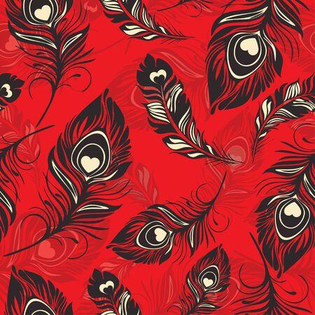 羽のシームレスなパターン。色とりどりの装飾的な抽象鳥の羽。テキスタイル デザイン、プリント、生地デザイン、壁紙、ラッパーに使用できます  イラスト・ベクター素材