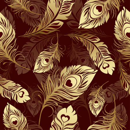 rich wallpaper: Gold feathers seamless pattern. Rich , luxury design, expensive jewelry. For use in textile design, print, fabric design, wallpaper, wrapper.