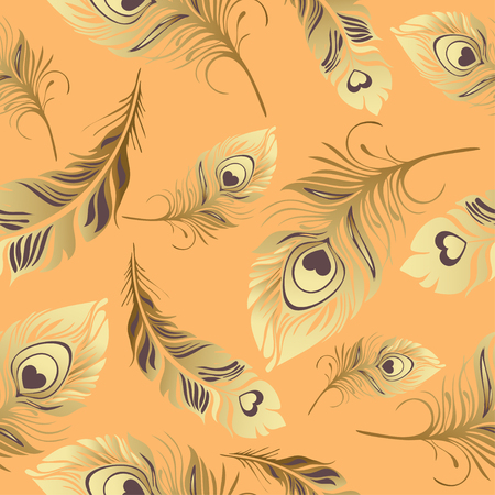 wrapper: Gold feathers seamless pattern. Rich , luxury design, expensive jewelry. For use in textile design, print, fabric design, wallpaper, wrapper.