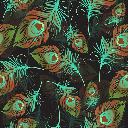 wrapper: Feathers seamless pattern. Multicolored decorative abstract bird feathers. For use in textile design, print, fabric design, wallpaper, wrapper.