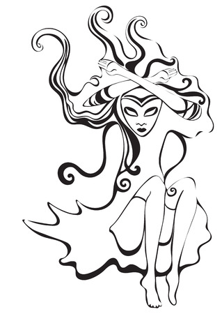 virgo zodiac sign: Queen of Spades. Virgo zodiac sign. Psychedelic, abstract gothic girl in surreal style. Monochrome lady, black and white vector illustration. For the design of card, astrology, coloring book, tattoo