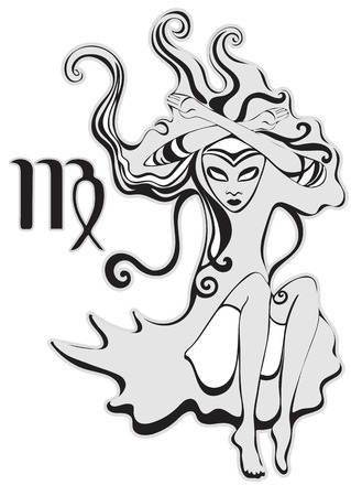virgo zodiac sign: Virgo zodiac sign. Queen of Spades. Psychedelic, abstract gothic girl in surreal style. Monochrome lady, black and white vector illustration. For the design of astrology, t-shirt design, tattoo, card