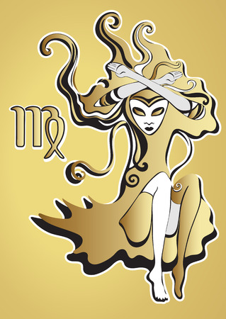 virgo zodiac sign: Golden lady, virgo zodiac sign. Queen of Spades. Psychedelic, abstract gothic girl in surreal style. Gold black woman on a gold background, luxury design. For the design of astrology, tattoo, card Illustration