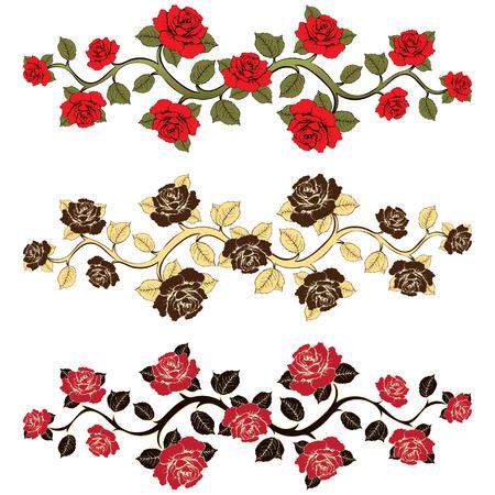 rosas rama determinada de la flor. Ornamento con las rosas. Estampado floral. Marco floral, tarjeta de la flor, frontera de las flores, la bandera, la decoración. en el punto de cosecha boho estilo. Fondo floral del vector