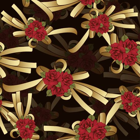 gold bow: Gold bow with red flowers roses seamless pattern