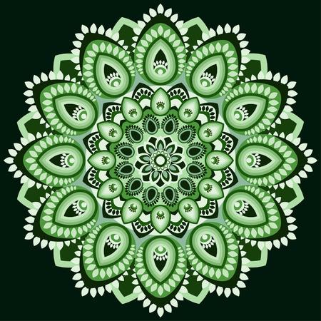 Mandala in shades of green Illustration