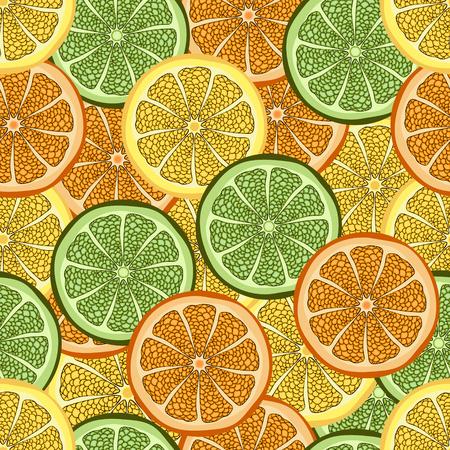 cutaway drawing: Slices of orange, lime and lemon Illustration