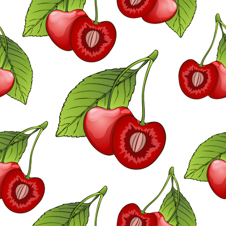 cutaway drawing: Cherries in a cut with seeds