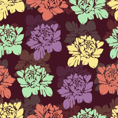 abstract flowers: Abstract multicolored flowers seamless pattern