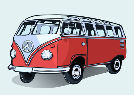 sixties: Hippie vintage bus, retro car, hand-drawing. Red cartoon bus with shadow. Isolated illustration
