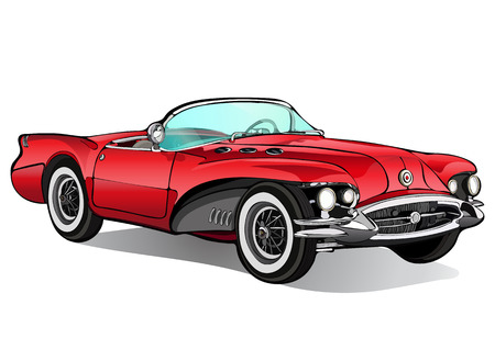 Vintage car. Retro red convertible without a roof with shadow. Vector isolated illustration