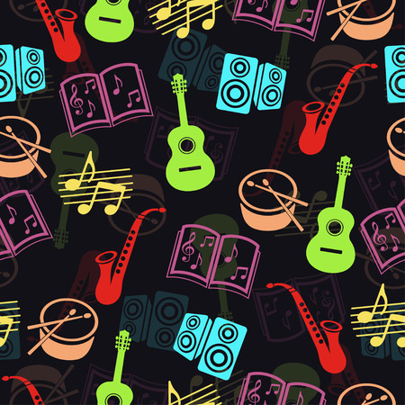 Musical vector background, music accessories seamless pattern. Silhouette drawing colorful guitar, drum, saxophone, loudspeakers, notes and music books a dark background Stock Illustratie