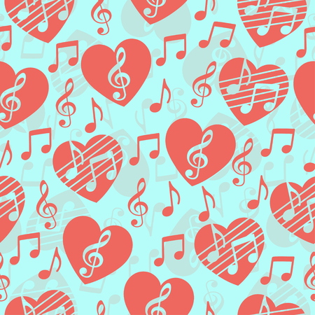 Love for music, musical abstract vector background, seamless pattern. Red heart with a treble clef and notes. For the design of wallpaper, wrap, fabric, prints