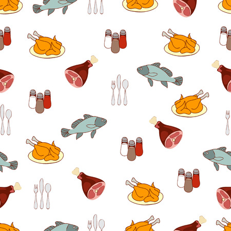 aliments: Food background, meat and fish. Drawn cartoon multicolored foodstuffs, gustable illustration. For the design of the fabric, wallpaper, store food, decorating the kitchen, restaurant, cafe