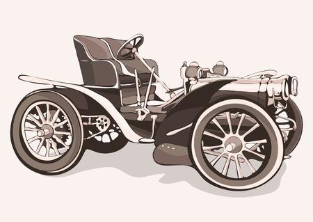 Oldtimer. Alte Retro-Ziehmaschine mit offener Oberseite. Illustration in Stil Sepia Vektorgrafik