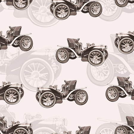 Vintage car seamless pattern, old retro drawing machine, cartoon background, monochrome. Illustration in style sepia. For the design of wallpaper, wrapper