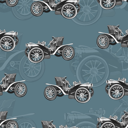 Vintage car seamless pattern, old retro black and white drawing machine, cartoon background. For the design of wallpaper, wrapper, fabric Çizim
