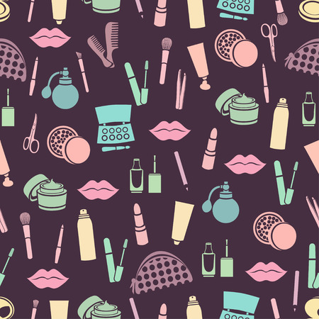 pastel shades: Cosmetic seamless pattern, accessories background. Colorful abstract flat cosmetic products pastel shades on purple background.