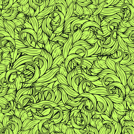 scrollwork: Abstract scrollwork seamless pattern, background. Green plants, grass, curls, waves. Natural stylized floral ornament. Hand drawing for design of wallpaper, fabric, wrap, decoration
