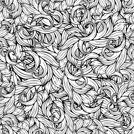 Abstract background, black and white seamless pattern, monochrome. Hand drawing, scrollwork, curls, waves, natural stylized floral ornament. Graphic art