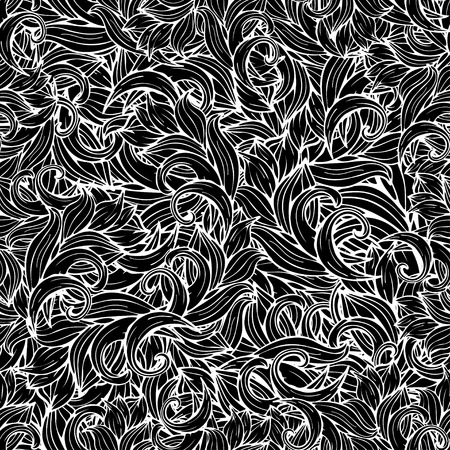 scrollwork: Abstract background, black and white seamless pattern, monochrome. Hand drawing, scrollwork, curls, waves, natural stylized floral ornament Illustration