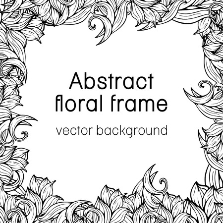 scrollwork: Abstract floral frame plant, vegetable background, cover, card, invitation, banner, coloring book. Frame of black and white scrollwork, plants, grass and flowers.