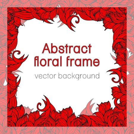 frizz: Abstract floral frame plant, vegetable background, cover, card, invitation, banner. Frame of colorful scrollwork, plants, grass, leaves and flowers illustration