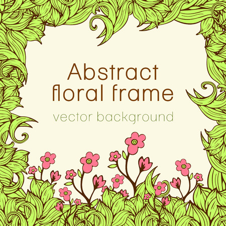 Abstract floral frame plant, vegetable background, cover, card, invitation, banner. Frame of colorful scrollwork, plants, grass, leaves and flowers illustration