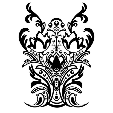 weaved: Damask floral pattern with arabesque, oriental ornament. Abstract traditional decor for backgrounds. Black and white colors, monochrome. Vector illustration