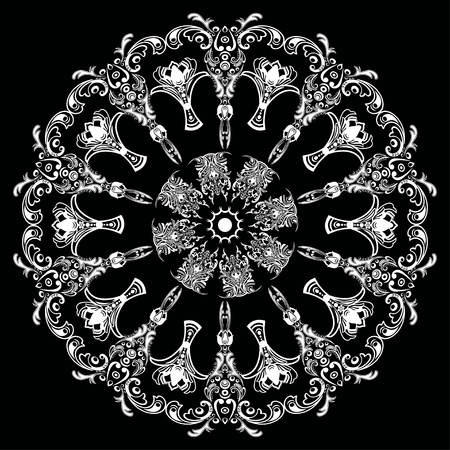 finely: Mandala with damask floral pattern, arabesque, round oriental ornament, ethnic design. Abstract traditional finely woven decor for backgrounds. Black and white vector illustration, monochrome
