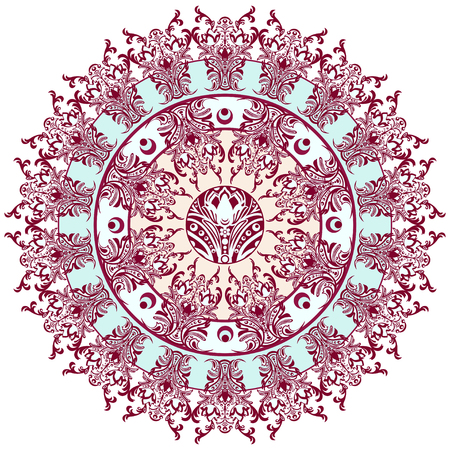 finely: Mandala with damask floral pattern, arabesque, round oriental ornament, ethnic design. Abstract traditional finely woven decor for backgrounds. Red and blue colors, pastel shades Illustration