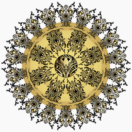 finely: Golden mandala with damask floral pattern, arabesque, fretwork, round oriental ornament. Abstract traditional finely woven decor for backgrounds. Luxury design, precious jewel. East, ethnic design Illustration