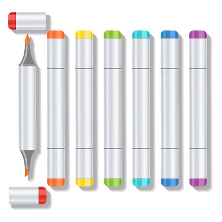 all caps: Set realistic multicolored professional art marker with two tips and removable caps. Markers of all colors of the rainbow. Vector art supplies for drawing, sketching, graphics, painting.