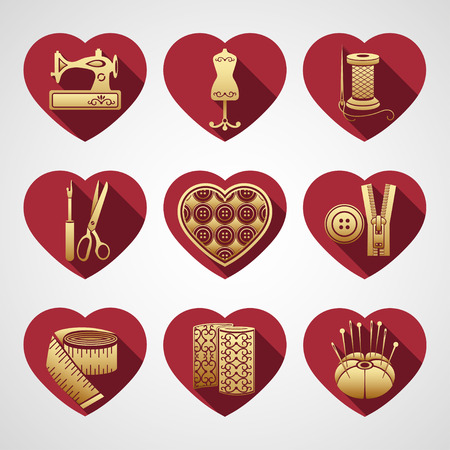 Set of vector icons sewing tools. Gold sewing supplies in a frame in the shape of a red heart