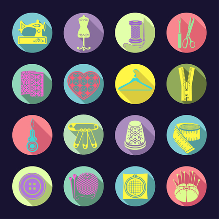 Colorful bright sewing supplies in a round multi-colored frame with the beveled shadow on a dark blue background Illustration