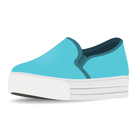 loafer: Vector shoes, blue slip-on, loafer on a high sole, isolated