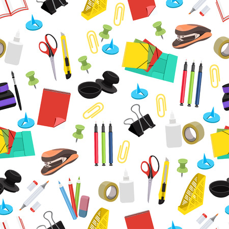 Stationery seamless pattern, vector background. Multicolor office tools on a white backdrop. For wallpaper design, wrappers, fabric, decorating