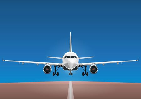 chassis: Aircraft vector, take-off plane against the background of the blue sky and the runway.