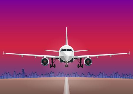 Aircraft vector, take-off plane against the background of the sunset sky, city houses and the runway.