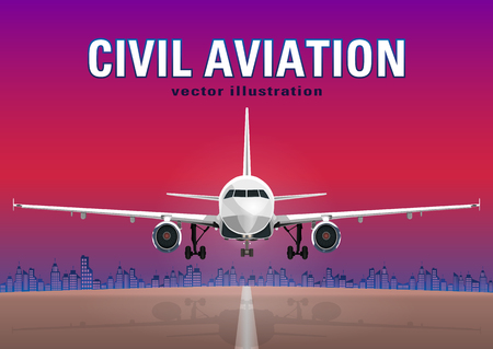 Aircraft vector, take-off plane against the background of the sunset sky, city houses and the runway, with space for text.