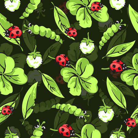 Cartoon hand drawing insects, leaves and flowers of clover pattern for fabric design and wallpaper.