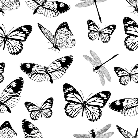 adder: Butterflies and dragonflies seamless pattern, monochrome vector background, coloring book. Black and white various insects on a white backdrop.