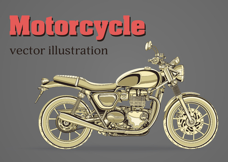 racing: Motorcycle vector, vintage banner, poster, flyer, card, cover. Yellow motorbike half-face with many details on a gray background