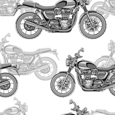 Motorcycle seamless pattern, vector background. Monochrome illustration. Black and white motorcycles with many details on a white background. For wallpaper design, fabric, wrappers