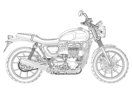Motorcycle vector, monochrome, black and white sketch, coloring book. Black outline drawing motorbike half-face with many details on a white background Vettoriali