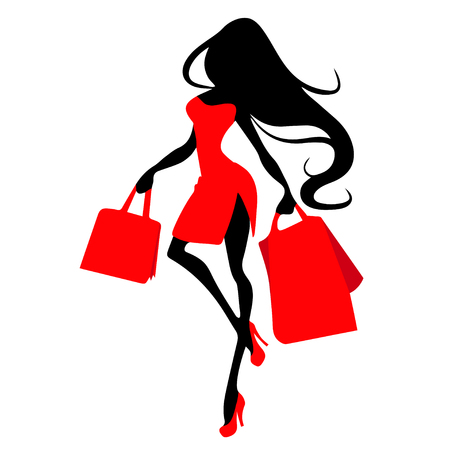 Silhouette woman with shopping bag, vector banner template for female shopping, sales, black friday design. Beautiful girl in red dress in high heels with purchases in hands