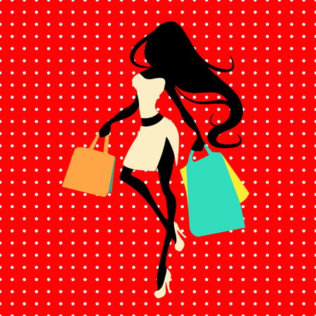 Silhouette woman with shopping bag on a red background with polka dots, vector banner template for female shopping, sales, black friday