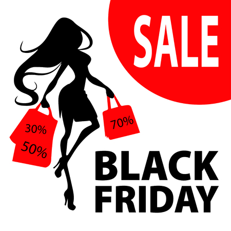 Silhouette woman with shopping bag, vector banner template for female shopping, sales, black friday design. Beautiful girl in dress in high heels with purchases in hands and text