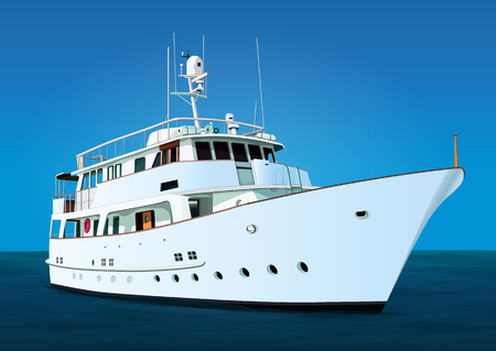 Yacht vector, realistic painted ship with many details against the background of the blue sky and the sea
